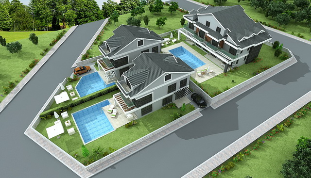4 Bedroom Stuning Off Plan Villas with Swimming Pool in Hisarönü For Sale