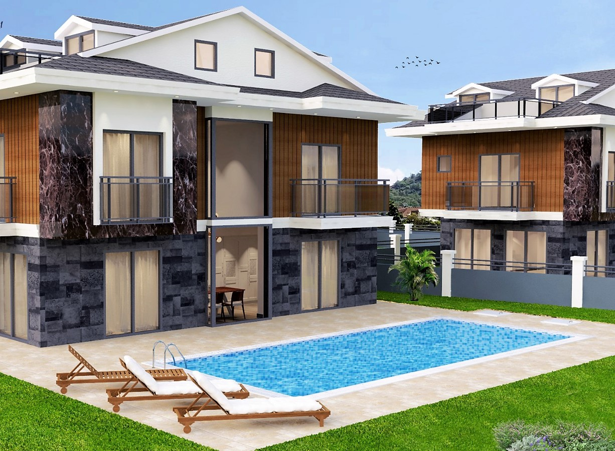 Off Plan Triplex Luxury Villas with Swimming Pool in Gocek For Sale