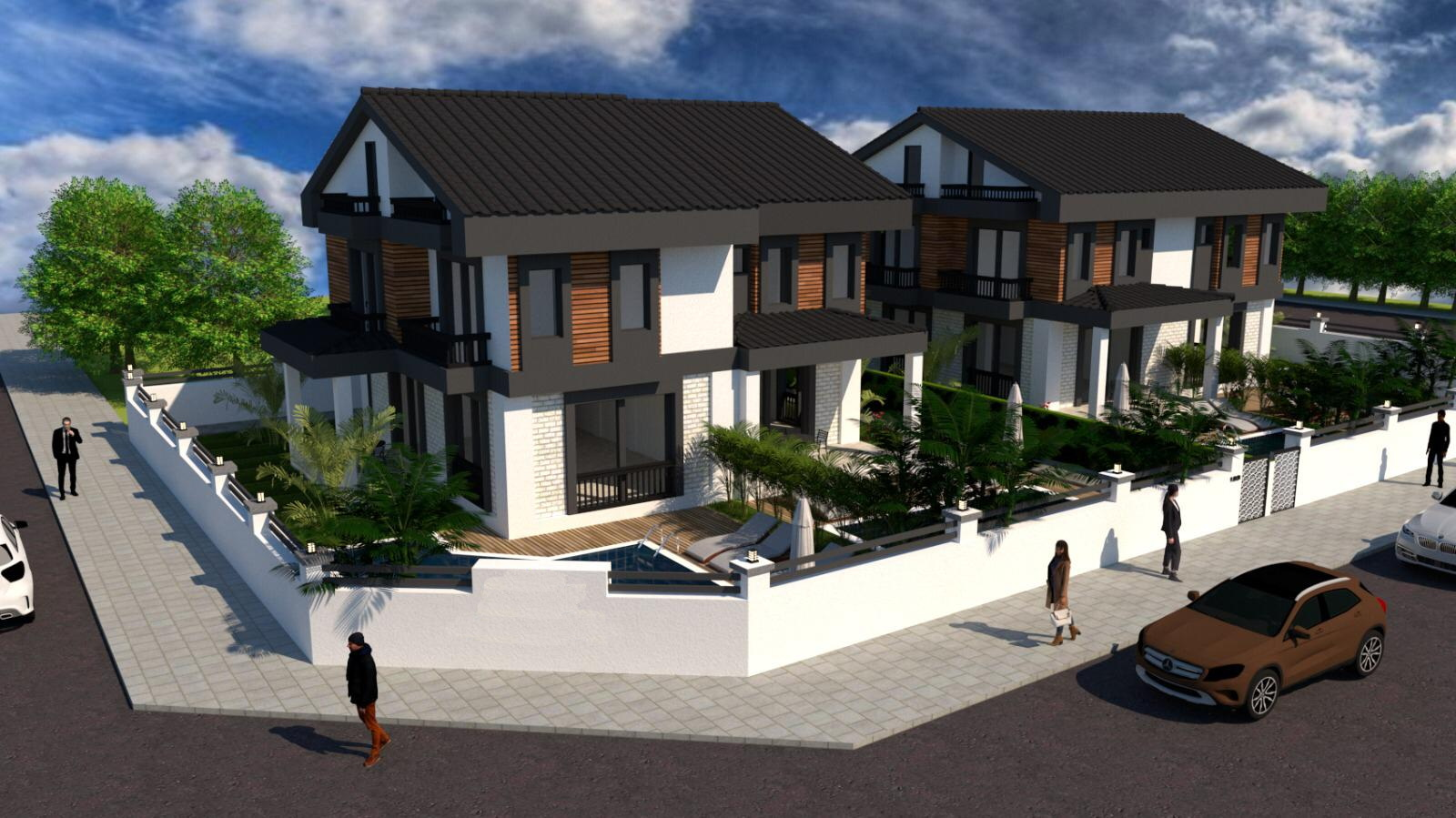 Luxury 4 Bedroom Semi Detached Villas with Private Pool in Calis