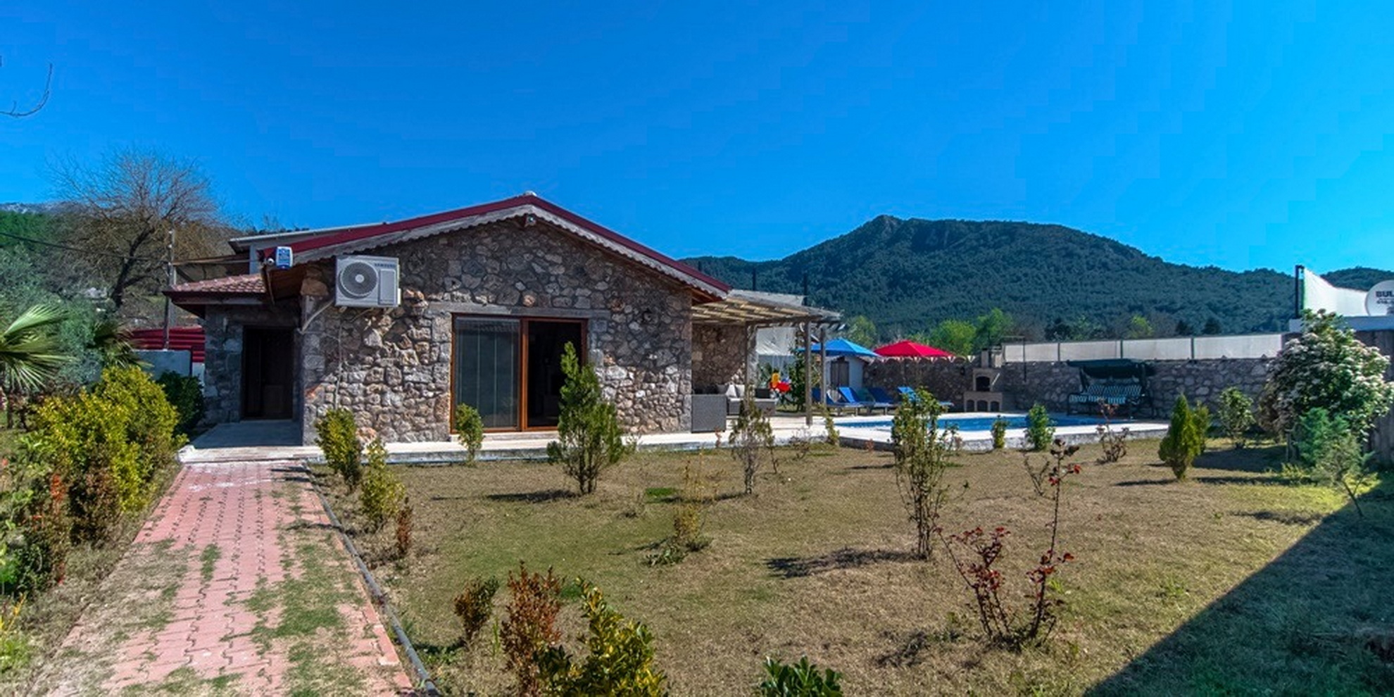 Traditional Kayakoy Stone Houses with Large Garden and Pool