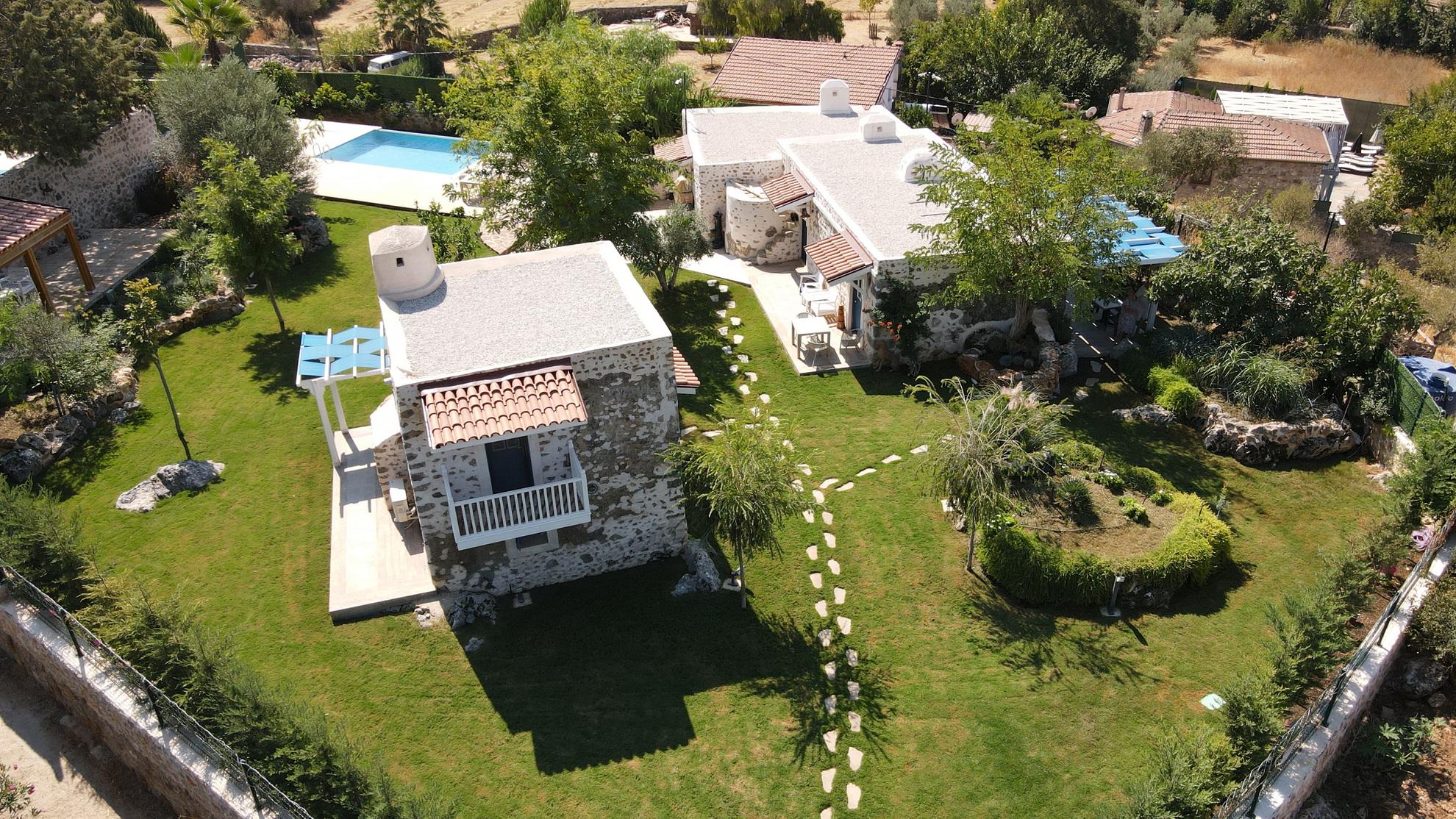 Traditional Kayakoy Stone House with Infinity Pool & Huge Garden